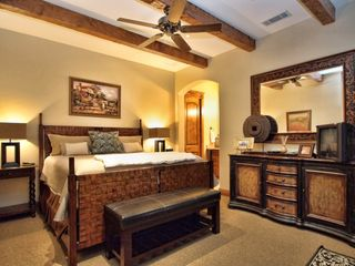 Spicewood estate photo - Downstairs guest has King bed, huge closet, full bath, and access to back patio.