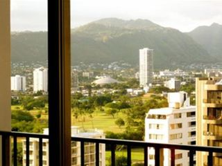 Waikiki condo photo - Living Room and Lanai view west to lovely Manoa Valley
