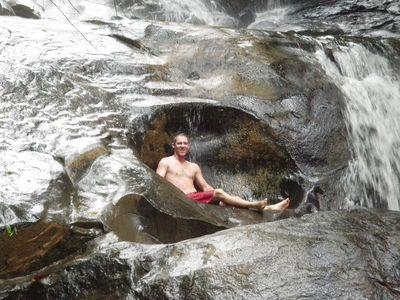 Dominical house rental - Chair in the rocks in the waterfall 3 minute walk downstream from the house