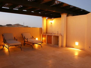 Rooftop Terrace at night looking inland