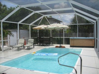 Screened in pool and spa area