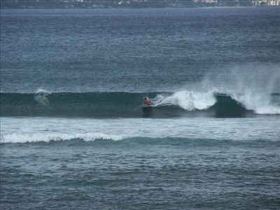 Watch the surfers right from the lanai