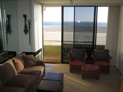 Living Room with Ocean View, Balcony and Private steps down to the Sand