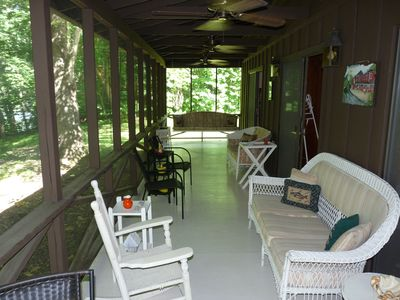 The screened porch overlooking the New River.