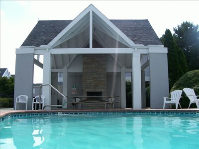 Water's edge  pool and fireplace