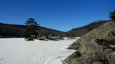 1-18-13 out on ice by the islands looking toward Ragged and Bald Mnts.