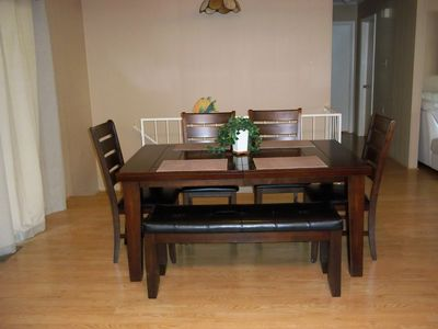 Hot Springs house rental - dining table has a leaf which allows seating for 10