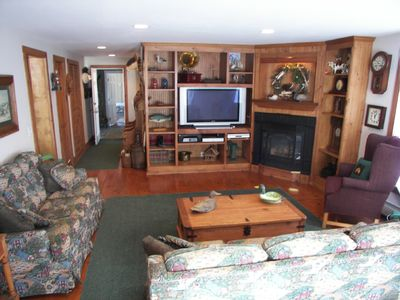 Family room with HD TV, gas fireplace