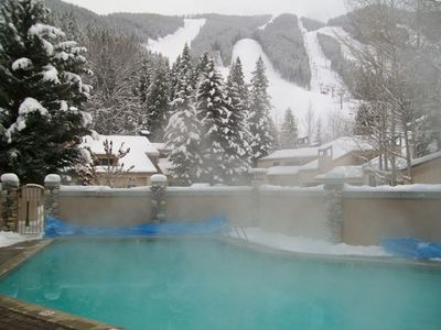 Ketchum condo rental - Jetted pool right at the base of the mountain kept at 104 degrees in the winter!