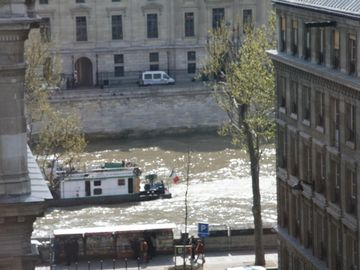 Tug boat on Seine - view from living room window