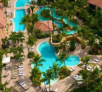 Ariel view of children's pool, lap pool and lazy river