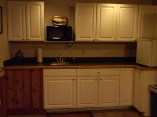 Greers Ferry Lake house photo - Small kitchen area in lower level w/microwave + small fridge