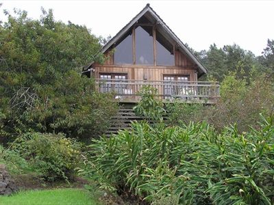 An 'A' frame cedar cottage nestled in cool upcountry Kula.