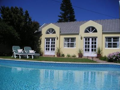 Noordhoek condo rental - The garden flat facing the sparkling pool