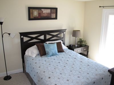 Master bedroom with queen sized mattress.