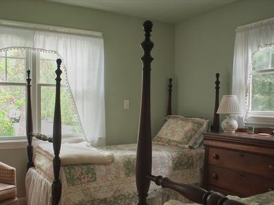 Antique twin beds, dresser in first floor bedroom