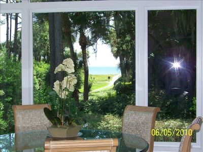 Sea Pines house rental - View of Ocean and path to Beach view from Kitchen