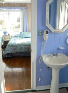1 of 2 bright, lovely, upstairs baths with tub, shower, hair dryer & ocean  view