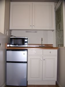 Mini kitchen w/ sink, microwave and fridge
