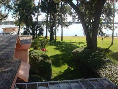 View of Lake Dora, back yard and the boathouse from the Loft.
