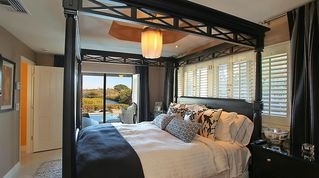 Nokomis house photo - Bedroom With King Size Bed and Waterfront View