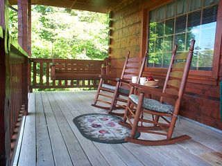 Front porch with swing, rockers, gas grill & hot tub viewing panaramic mtn. view - Pigeon Forge cabin vacation rental photo