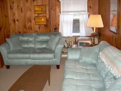 Living Room - sofa, loveseat, flatscreen tv and dvd player