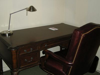 Writing Area, Desk and Lamp