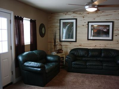 Living Room has 40 inch HDTV Flatscreen, excellent view, wood burning fireplace
