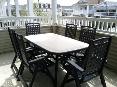 Enjoy dinner outside on the spacious covered deck.