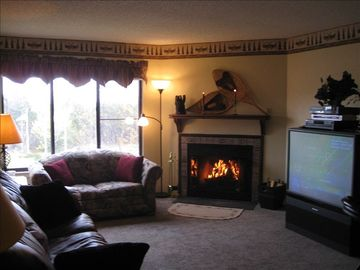 Snowshoe Mountain condo rental - Living Room with Wood Burning Fireplace and Awsome Mountain Views!