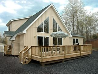 Great Deck with gas grill and plenty of room 60' Driveway on side - Towamensing Trails chalet vacation rental photo