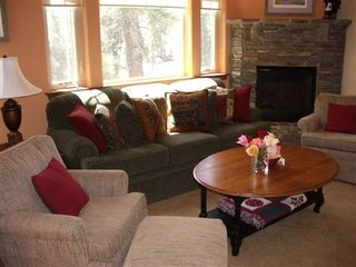 Mammoth Lakes townhome photo - Living Room, Mntn Vu, Fireplace, TV, DVD, Stereo