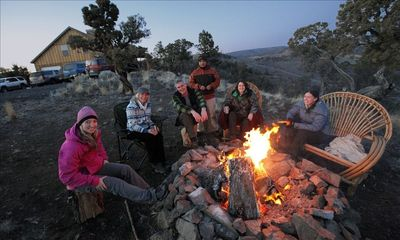 Columbia Sportswear Crew enjoying  campfire after photo shoot. Frequent guests.