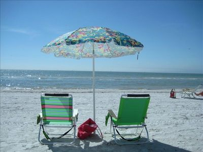 The sun is shining, your beach chairs are waiting, enjoy the beach.