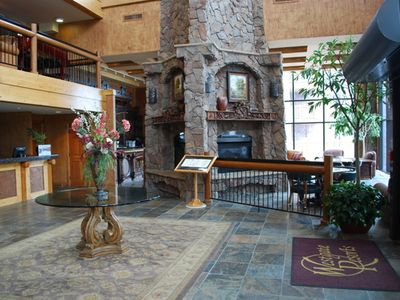 Lobby--Large Fireplace, Timbers and a concierge service