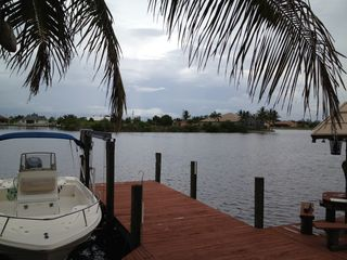 Cape Coral house photo - View of peaceful Wazee Lake. Dolphin and manatee can be seen from time to time.