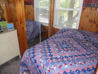 Sebago Lake Basin cottage photo - bedroom 2- full size bed also has small wall mounted tv.