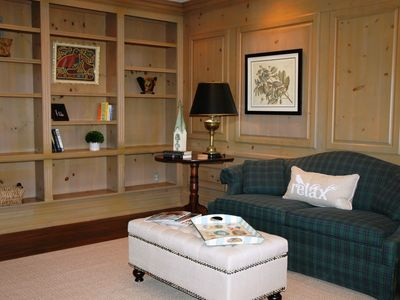 Beautifully paneled very large den with 42' flat screen TV.
