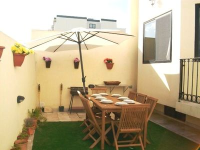 Mellieha house rental - Outside Terrace with Bar b Que & garden furniture