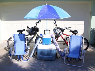 Beach Gear: Bikes, Backpack Chairs, Beach Mats, Large/Small Coolers, Umbrella