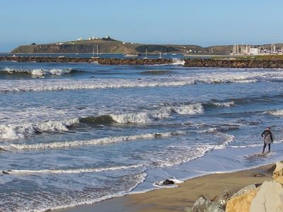 Half Moon Bay apartment rental - Surfer's Beach with Pillar Point Harbor in Distance. (2 Blocks from Apartment)
