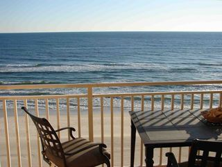 A balcony view facing south, overlooking the beaches and Gulf