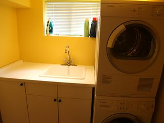 Toronto house photo - laundry room with new Bosch washer/dryer, laundry detergent and fabric condition
