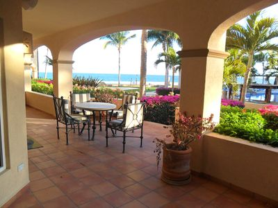 40 ft Covered Patio walks right out to pool and beach