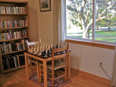 Play chess or choose a book from our eclectic library. Something for everybody!
