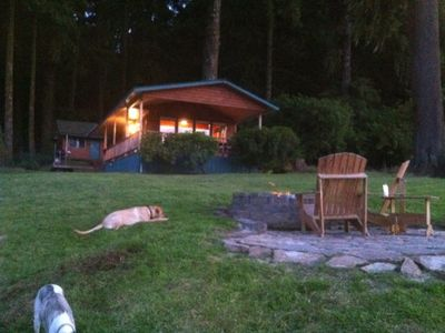 front yard fire pit and cabin