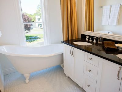 Master Bathroom with beautiful clawfoot tub and a view of the Inner Harbour