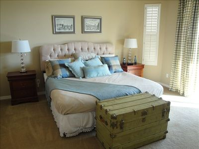 Royal tufted headboard,silky throw pillows,firm king bed... Suite Dreams...