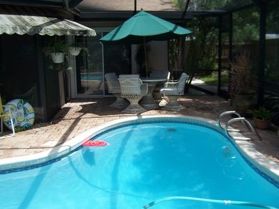 Palm Harbor house rental - Entertain on deck or in covered outside lanai area